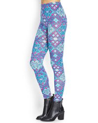Forever 21 - Blue Abstract Geo Leggings - Lyst