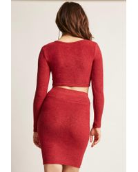 Forever 21   Red Marled Asymmetrical Crop Top   Lyst