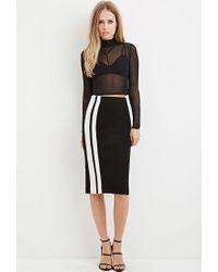 Forever 21 - Black Striped Pencil Skirt - Lyst