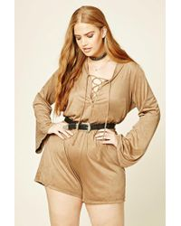 Forever 21 - Natural Plus Size Faux Suede Playsuit - Lyst