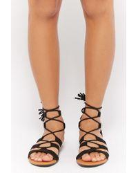 Forever 21 Black Faux Suede Gladiator Sandals