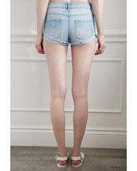 Forever 21 Blue Ripped Denim Shorts
