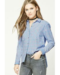 Forever 21 - Blue Dolphin Hem Flannel Plaid Shirt - Lyst