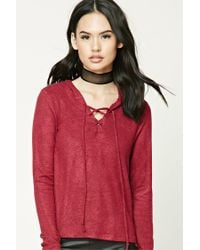 Forever 21 - Red Lace-up Hooded Sweater - Lyst