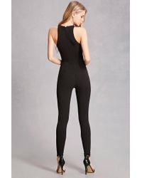 Forever 21 - Black Sash Belt Cutout Jumpsuit - Lyst