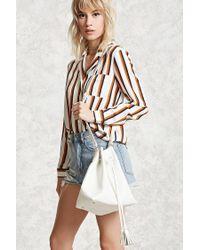 Forever 21 - White Faux Leather Tassel Bucket Bag - Lyst