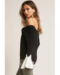 Forever 21 - Black Contrast Trumpet-sleeve Sweater - Lyst