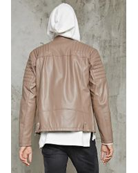 Forever 21 - Natural Ribbed Faux Leather Jacket for Men - Lyst