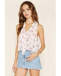 Forever 21 - Multicolor Floral Print Tie-neck Top - Lyst