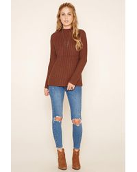 Forever 21 - Brown Ribbed Knit Sweater - Lyst
