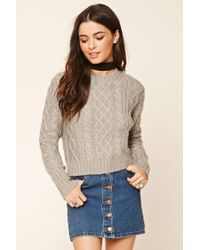 Forever 21 - Gray Cable Knit Jumper - Lyst