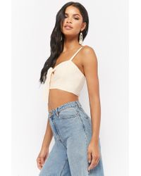 Forever 21 - Natural Tie-front Crop Top - Lyst