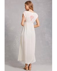 Forever 21 White Z&l Europe Embroidered Tunic