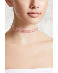 Forever 21 | Pink Etched Floral Velvet Choker | Lyst