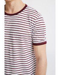 Forever 21 - Purple Striped Linen Ringer Tee for Men - Lyst