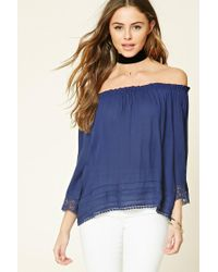 Forever 21 | Blue Crochet-trimmed Woven Top | Lyst