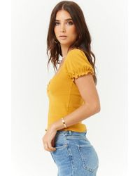 Forever 21 - Yellow Women's Ruched Lettuce-edge Top - Lyst