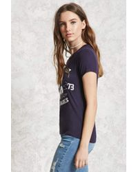 Forever 21 Blue West Coast Wave Babes Tee