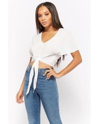 Forever 21 - White Tie-front Kimono Sleeve Crop Top - Lyst