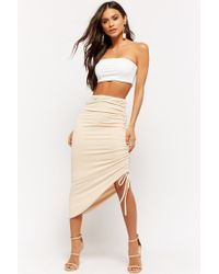 Forever 21 Natural Women's Ruched Midi Skirt