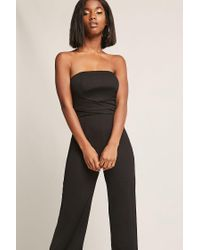 Forever 21 Black Strapless Tie-back Jumpsuit