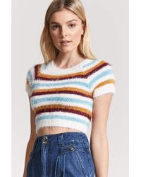 Forever 21 - Blue Fuzzy Knit Stripe Sweater - Lyst