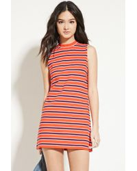 Forever 21 - Red Striped Mock-neck Shift Dress - Lyst