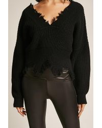 Forever 21 Black Shark-bite Sweater-knit Top