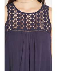 Forever 21 - Blue Floral Crochet-panel Gauze Top - Lyst