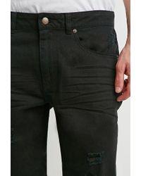 Forever 21 - Black Destroyed Straight-leg Jeans for Men - Lyst
