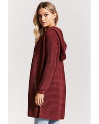 Forever 21 | Red Ribbed Knit Hooded Longline Cardigan | Lyst