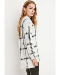 Forever 21 White Eyelash Knit Plaid Sweater