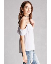 Forever 21 - Gray Foldover Open-shoulder Top - Lyst