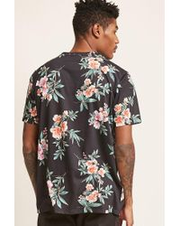 Forever 21 Black 's Floral Print Tee Shirt for men