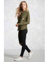 Forever 21 - Green Selfie Patch Pocket Shirt - Lyst