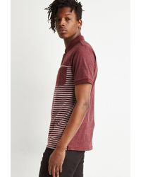 Forever 21 Blue 's Striped Colorblock Polo Shirt for men