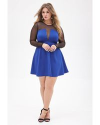 Forever 21 - Blue Plus Size Mesh-paneled Fit & Flare Dress - Lyst