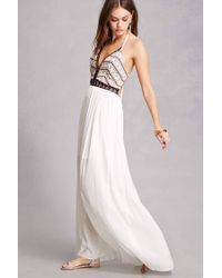 Forever 21 White Soieblu Embroidered Maxi Dress