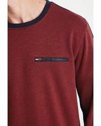 Forever 21 - Purple Colorblocked Zip-pocket Sweatshirt - Lyst