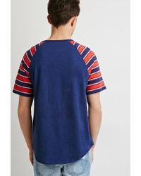 Forever 21 - Blue Zigzag Pocket Tee for Men - Lyst