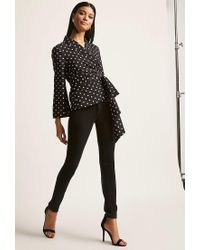 Forever 21 - Black Polka Dot Wrap Top - Lyst