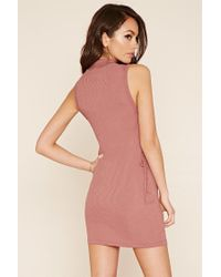 Forever 21 - Blue Ribbed Knit Lace-up Dress - Lyst