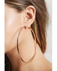 Forever 21 - Multicolor Oversized Hammered Hoop Earrings - Lyst