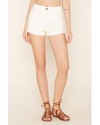 Forever 21 - White Cuffed Denim Shorts - Lyst