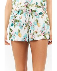 Forever 21 - Blue Tropical Cami & Shorts Pajama Set - Lyst