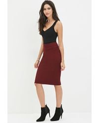 Forever 21 - Purple Sweater-knit Pencil Skirt - Lyst
