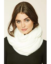 Forever 21   White Fuzzy Knit Infinity Scarf   Lyst