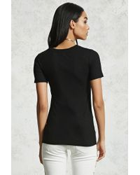 Forever 21 - Black Slub Knit Stretch-knit Tee - Lyst
