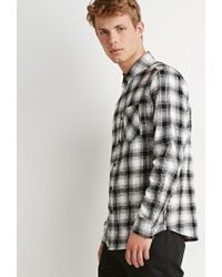 Forever 21 - White Plaid Flannel Shirt You've Been Added To The Waitlist for Men - Lyst
