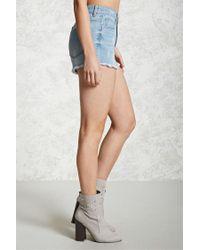 Forever 21 - Blue Distressed Frayed Denim Shorts - Lyst